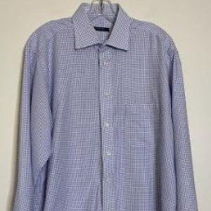 Burberry London Blue & White Check Cotton Sz 16 ½